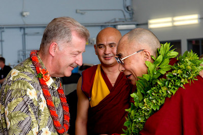 His Holiness the Dalai Lama arrives in Hawaii
